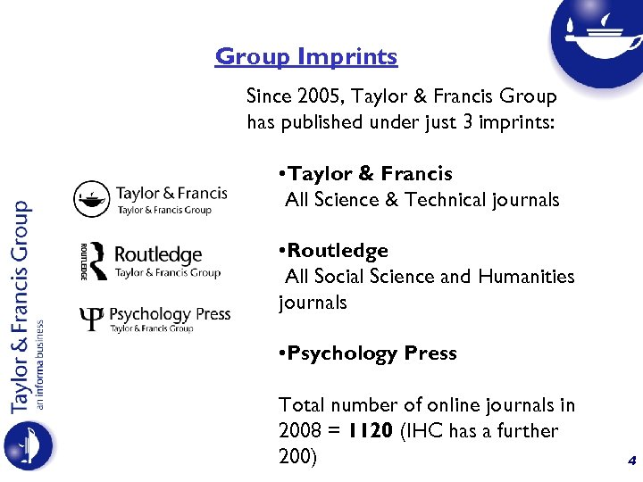Group Imprints Since 2005, Taylor & Francis Group has published under just 3 imprints: