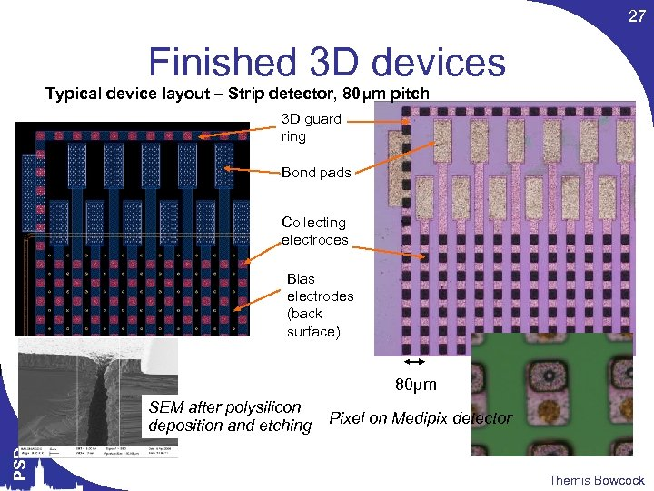 27 Finished 3 D devices Typical device layout – Strip detector, 80μm pitch 3