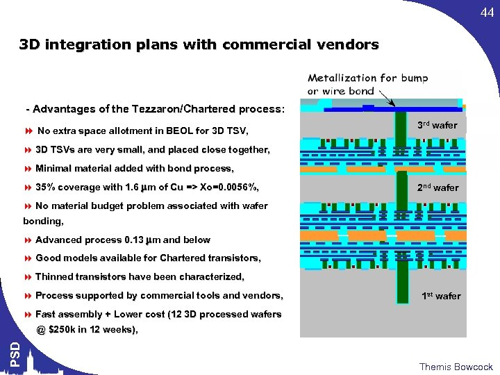 44 3 D integration plans with commercial vendors - Advantages of the Tezzaron/Chartered process: