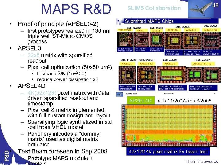 MAPS R&D 49 SLIM 5 Collaboration • Proof of principle (APSEL 0 -2) –