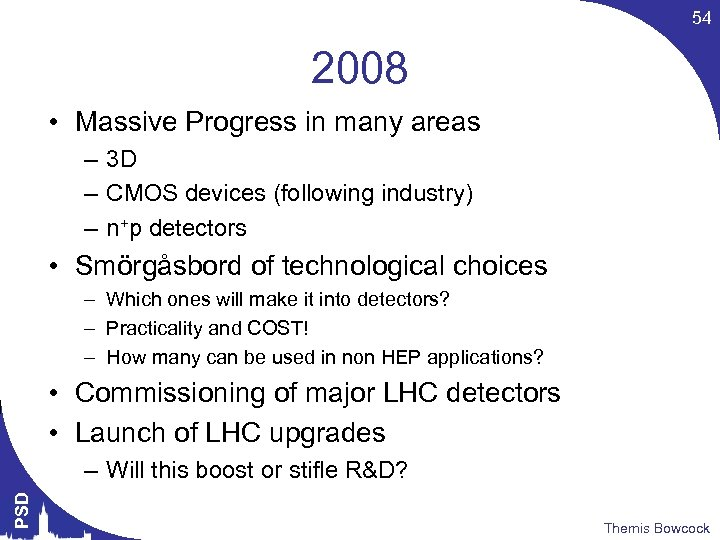 54 2008 • Massive Progress in many areas – 3 D – CMOS devices