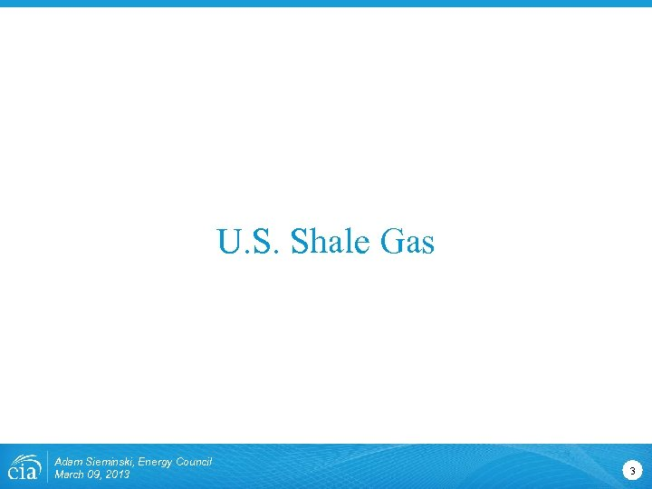 U. S. Shale Gas Adam Sieminski, Energy Council March 09, 2013 3