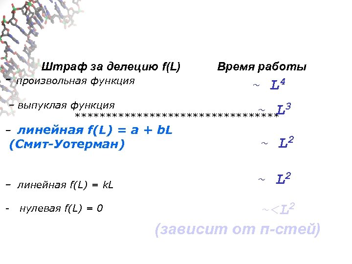 - Штраф за делецию f(L) произвольная функция Время работы ~ L 4 – выпуклая