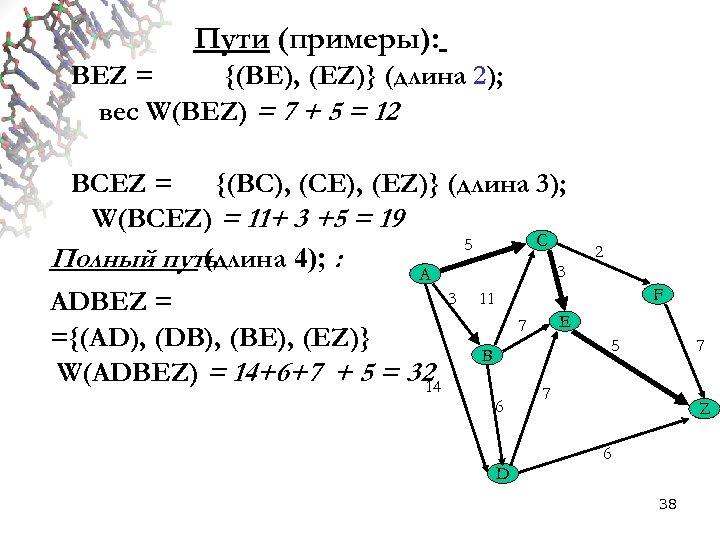 Пути (примеры): BEZ = {(BE), (EZ)} (длина 2); вес W(BEZ) = 7 + 5