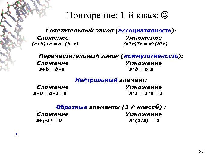 Повторение: 1 -й класс Сочетательный закон (ассоциативность): Сложение Умножение (a+b)+c = a+(b+c) (a*b)*c =