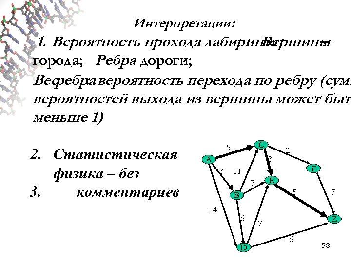 Интерпретации: 1. Вероятность прохода лабиринта : Вершины – города; Ребра дороги; Весребра вероятность перехода