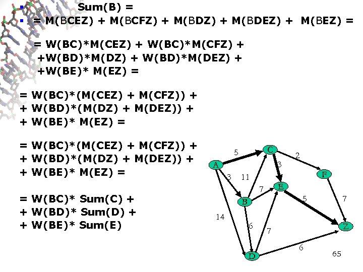 § Sum(B) = § = M(BCEZ) + M(BCFZ) + M(BDEZ) + M(BEZ) = =