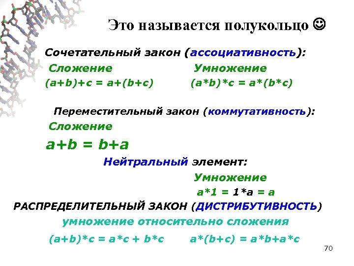 Это называется полукольцо Сочетательный закон (ассоциативность): Сложение Умножение (a+b)+c = a+(b+c) (a*b)*c = a*(b*c)
