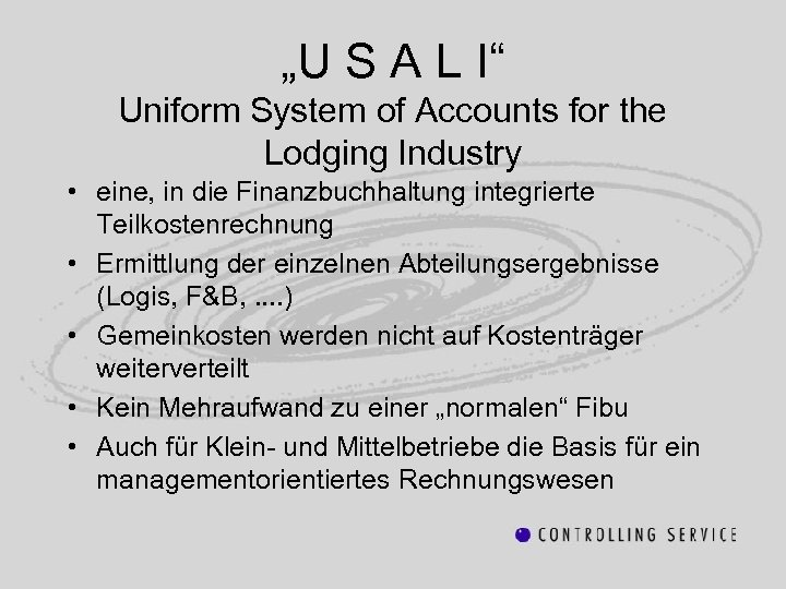 """""""U S A L I"""" Uniform System of Accounts for the Lodging Industry •"""