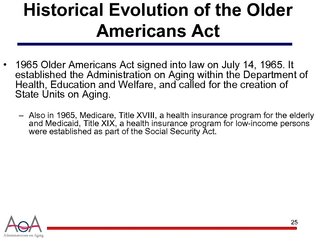 Historical Evolution of the Older Americans Act • 1965 Older Americans Act signed into
