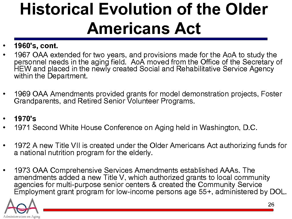 Historical Evolution of the Older Americans Act • • 1960's, cont. 1967 OAA extended