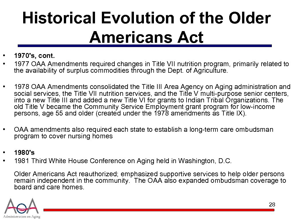Historical Evolution of the Older Americans Act • • 1970's, cont. 1977 OAA Amendments