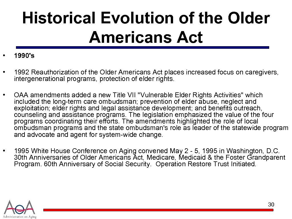 Historical Evolution of the Older Americans Act • 1990's • 1992 Reauthorization of the