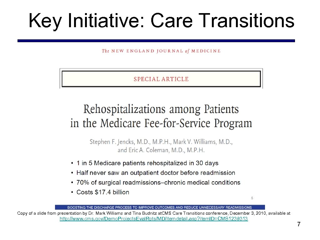 Key Initiative: Care Transitions Copy of a slide from presentation by Dr. Mark Williams