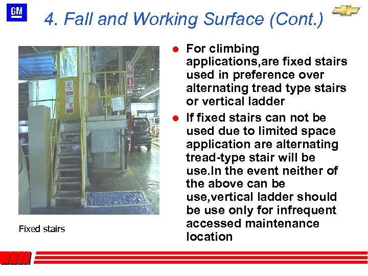 4. Fall and Working Surface (Cont. ) l l Fixed stairs For climbing applications,