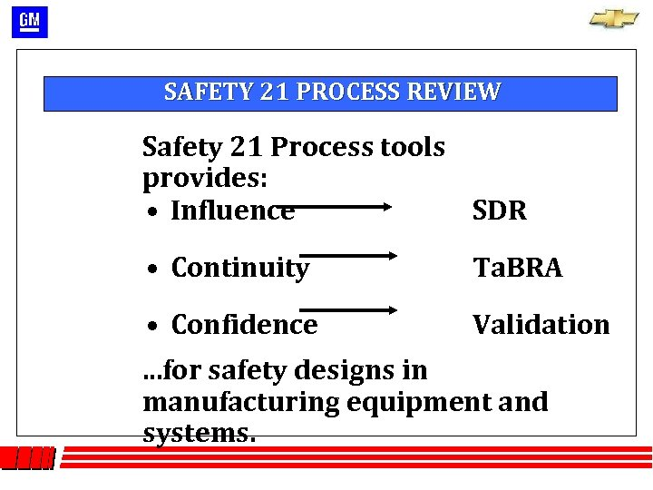 SAFETY 21 PROCESS REVIEW Safety 21 Process tools provides: • Influence SDR • Continuity
