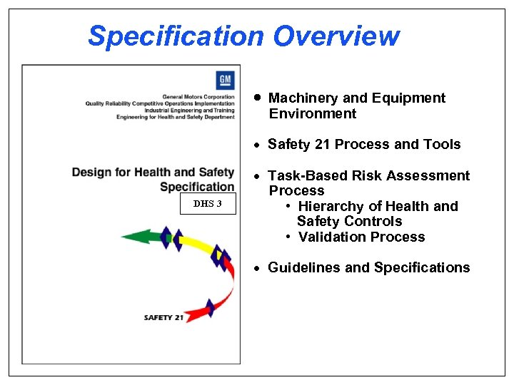 Specification Overview · Machinery and Equipment Environment · Safety 21 Process and Tools DHS