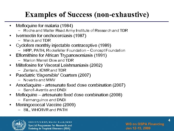 Examples of Success (non-exhaustive) • Mefloquine for malaria (1984) – Roche and Walter Read
