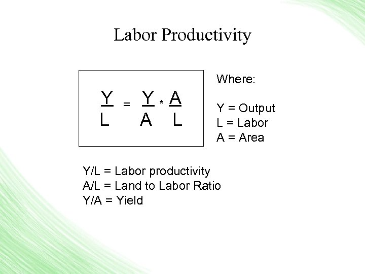Labor Productivity Where: Y = Y * A L A L Y = Output