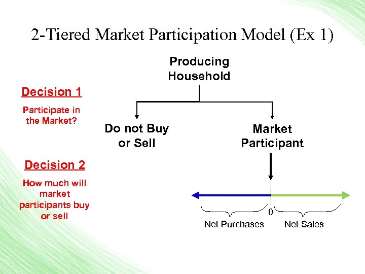 2 -Tiered Market Participation Model (Ex 1) Producing Household Decision 1 Participate in the