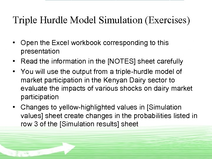 Triple Hurdle Model Simulation (Exercises) • Open the Excel workbook corresponding to this presentation