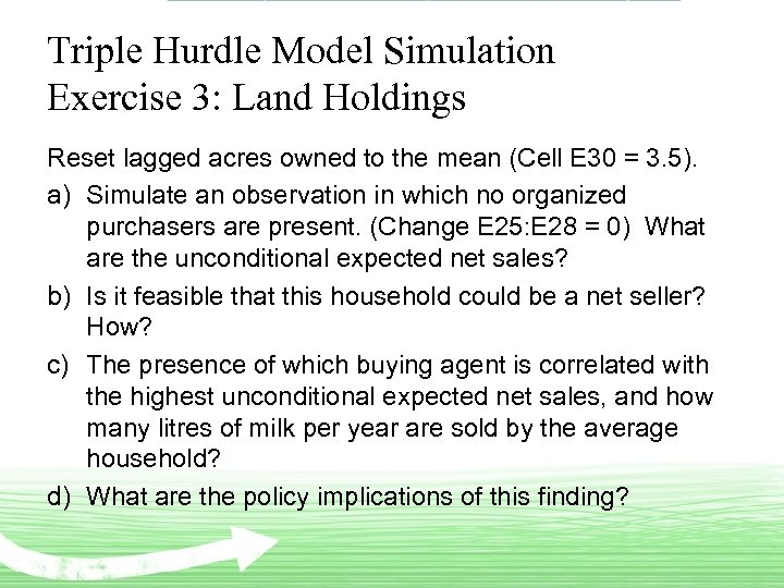 Triple Hurdle Model Simulation Exercise 3: Land Holdings Reset lagged acres owned to the