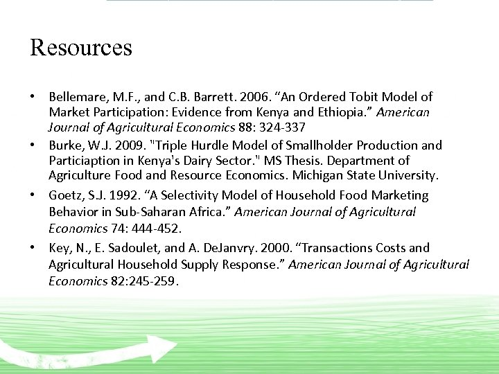 """Resources • Bellemare, M. F. , and C. B. Barrett. 2006. """"An Ordered Tobit"""