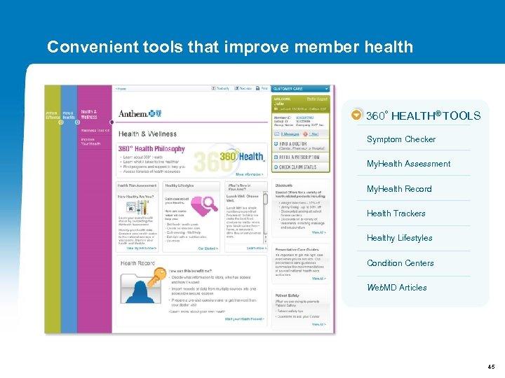 Convenient tools that improve member health 360° HEALTH® TOOLS Symptom Checker My. Health Assessment