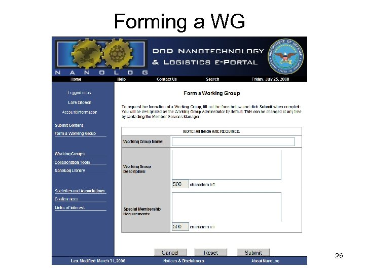 Forming a WG 26