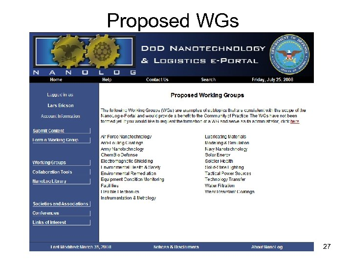 Proposed WGs 27