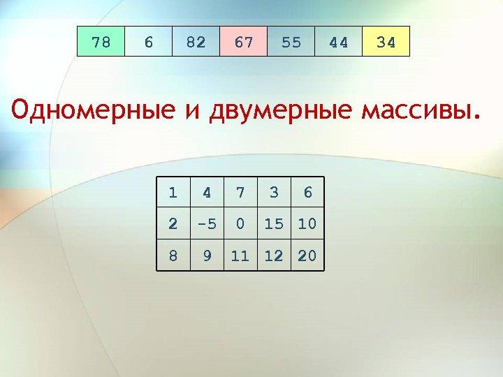 78 6 82 67 55 44 34 Одномерные и двумерные массивы. 1 4 7