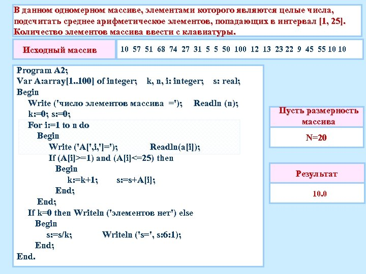 В данном одномерном массиве, элементами которого являются целые числа, подсчитать среднее арифметическое элементов, попадающих
