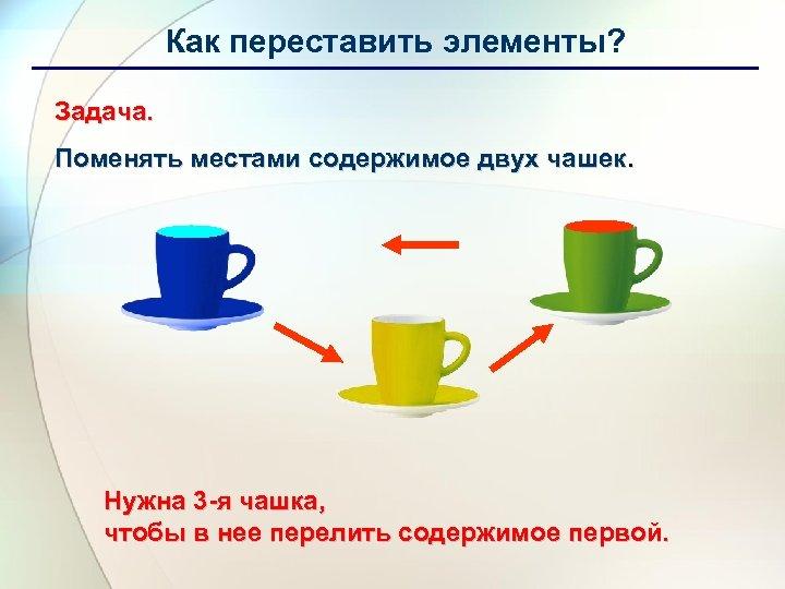 Как переставить элементы? Задача. Поменять местами содержимое двух чашек. Нужна 3 -я чашка, чтобы