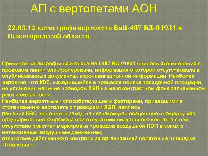 АП с вертолетами АОН 22. 03. 12 катастрофа вертолета Bell-407 RA-01931 в Нижегородской области.