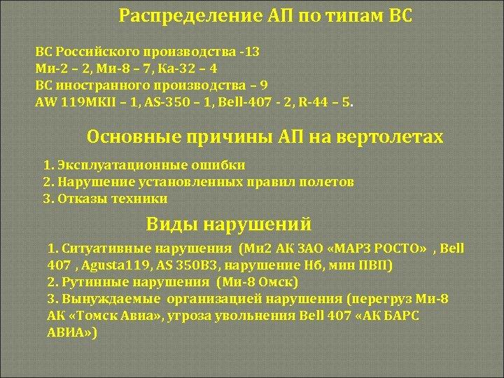 Распределение АП по типам ВС ВС Российского производства -13 Ми-2 – 2, Ми-8 –