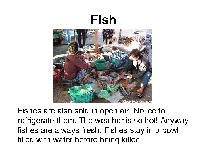 Fishes are also sold in open air. No ice to refrigerate them. The weather
