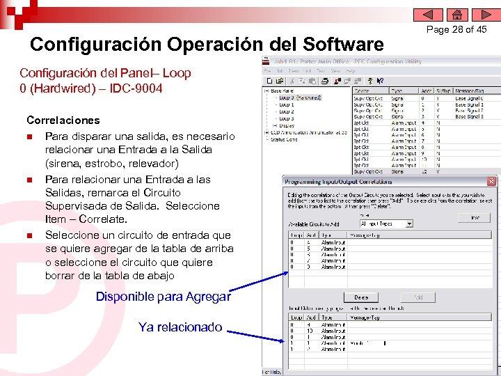 Configuración Operación del Software Configuración del Panel– Loop 0 (Hardwired) – IDC-9004 Correlaciones n