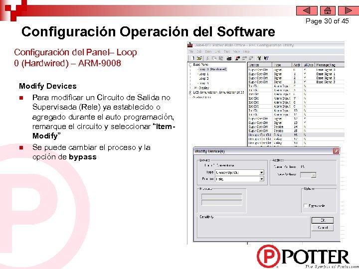 Configuración Operación del Software Configuración del Panel– Loop 0 (Hardwired) – ARM-9008 Modify Devices