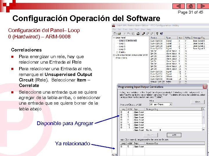 Configuración Operación del Software Configuración del Panel– Loop 0 (Hardwired) – ARM-9008 Correlaciones n
