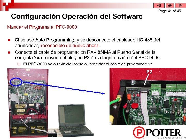 Page 41 of 45 Configuración Operación del Software Mandar el Programa al PFC-9000 n
