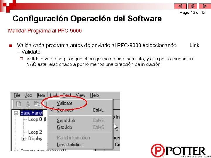 Configuración Operación del Software Page 42 of 45 Mandar Programa al PFC-9000 n Valida