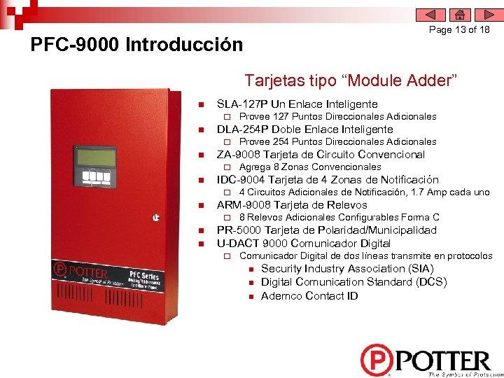 """Page 13 of 18 PFC-9000 Introducción Tarjetas tipo """"Module Adder"""" n SLA-127 P Un"""
