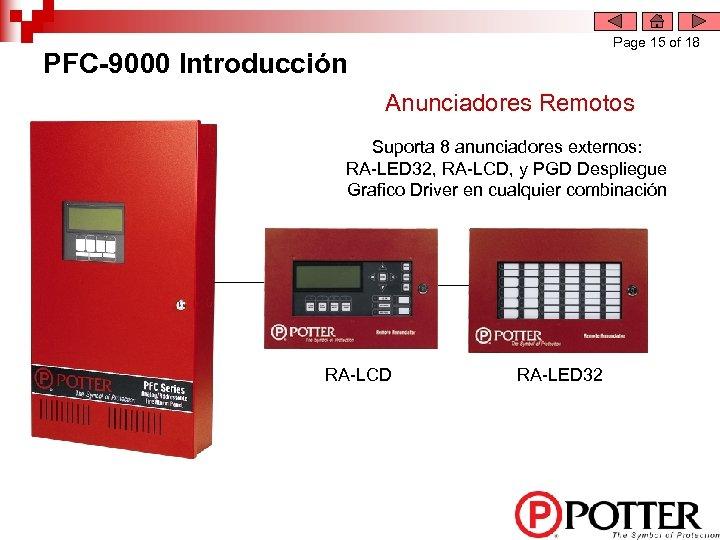 Page 15 of 18 PFC-9000 Introducción Anunciadores Remotos Suporta 8 anunciadores externos: RA-LED 32,