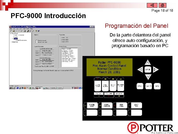PFC-9000 Introducción Page 18 of 18 Programación del Panel De la parte delantera del