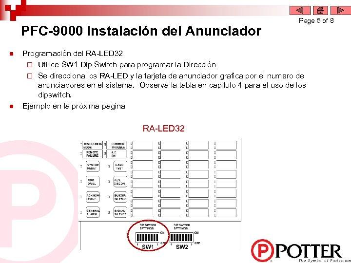 PFC-9000 Instalación del Anunciador n n Page 5 of 8 Programación del RA-LED 32