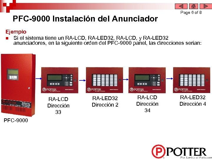 PFC-9000 Instalación del Anunciador Page 6 of 8 Ejemplo n Si el sistema tiene