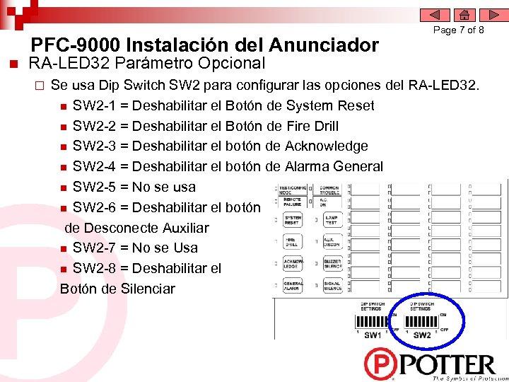 PFC-9000 Instalación del Anunciador n Page 7 of 8 RA-LED 32 Parámetro Opcional ¨
