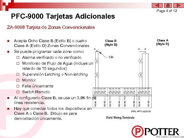 PFC-9000 Tarjetas Adicionales Page 4 of 12 ZA-9008 Tarjeta de Zonas Convencionales n n