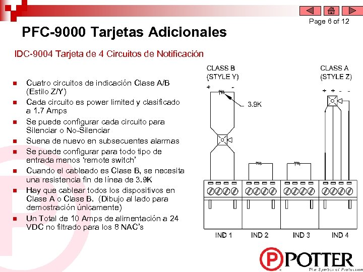 PFC-9000 Tarjetas Adicionales IDC-9004 Tarjeta de 4 Circuitos de Notificación n n n n