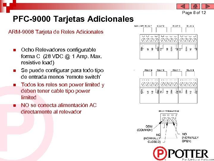 PFC-9000 Tarjetas Adicionales ARM-9008 Tarjeta de Reles Adicionales n n Ocho Relevadores configurable forma